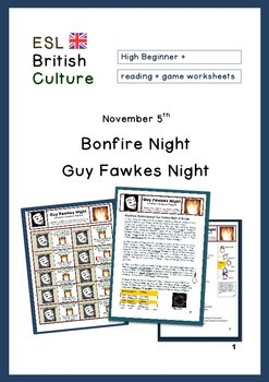 ESL Reading activity and game (British Culture) Bonfire Ni