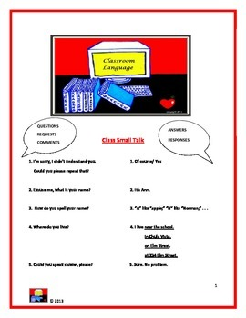 Classroom Language Handout, Activity and Quiz (Beg-Int)
