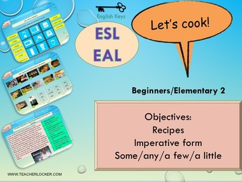 ESL EAL food and cooking some, any lesson and student acti