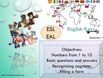 ESL EAL introduction, numbers 1-10-to be, Unit 1 lesson 2