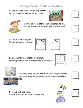 ESL English/Spanish Narrative Writing Checklist