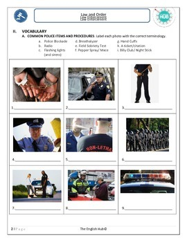 ESL Law and Order: Law Enforcement Lesson (Editable)
