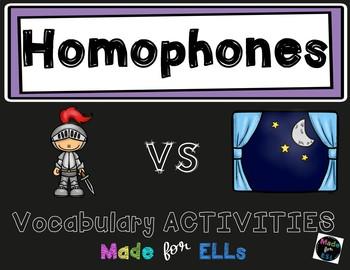 ESL Newcomer Homophones Vocabulary Activities