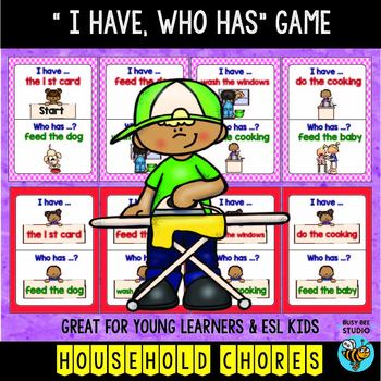 "ESL Newcomer Vocabulary Game: Household Chores ""I have, who has?"""