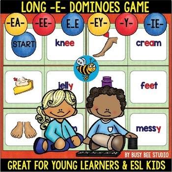 Long E (ee,ea,y sounds like e) Phonics Domino Game