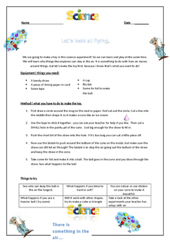 ESL Science - Floating ball Air pressure Worksheet.