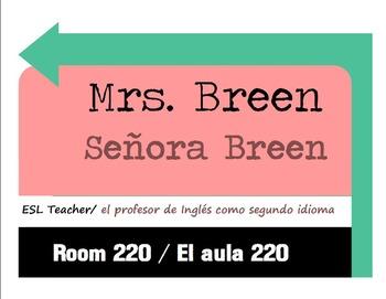 ESL Teacher Sign (Bilingual English & Spanish)