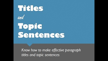 ESL for Adults - Paragraph Writing - Effective Titles and