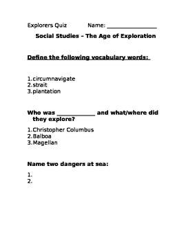 ESL/ELL Early Explorers Quick Quiz