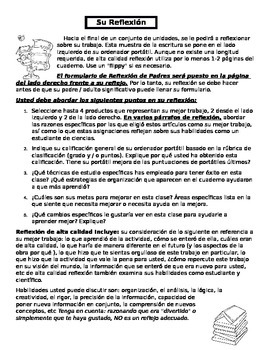 ESOL/ELL/ESL  Spanish Interactive Notebook Reflections