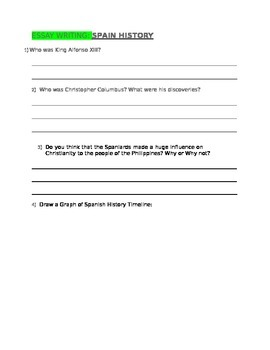 ESSAY WRITING Spain History for 4th Grade