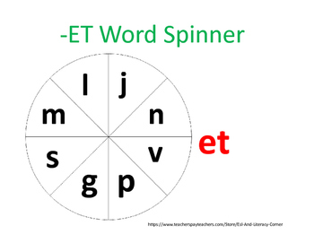 ET Word Family Spinner and Activity