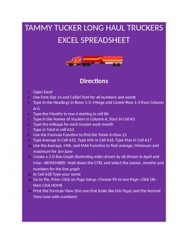 EXCEL WORKSHEET--TAMMY TUCKER TRUCKERS