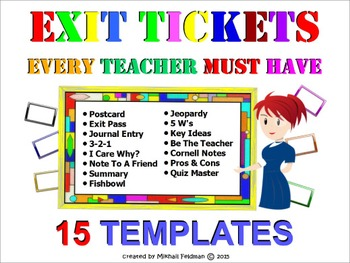 EXIT / DO NOW TICKETS EVERY TEACHER MUST HAVE! 15 TYPES of