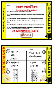 EXIT TICKET - Evaluating Functions