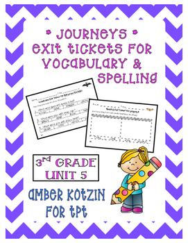 EXIT TICKETS - Vocab and Spelling 3rd Grade Journeys Unit 5 ©2014