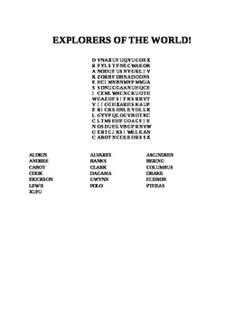 EXPLORERS OF THE WORLD WORD SEARCH