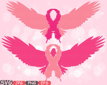Eagle Breast Cancer birds Feathers SVG clipart swirl ribbo