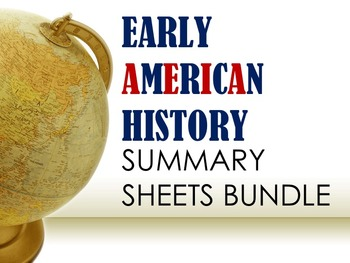 Early American History Summary Sheets Bundle