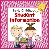 Preschool Organization Binder - Student Information Documentation