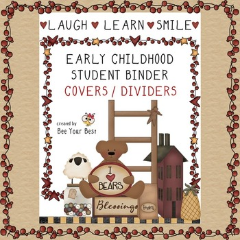 Early Childhood Student Binder COVER & DIVIDERS in Primiti
