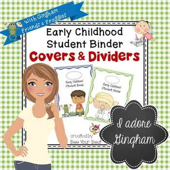 Early Childhood Student Binder COVERS & DIVIDERS in Gingham