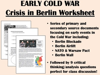 Early Cold War - Crisis in Berlin worksheet - Global/World