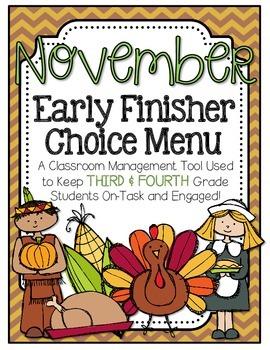Early Finisher Choice Menu - November