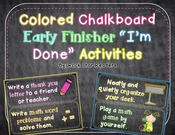 Early Finisher I'm Done Activity Cards Colorful Chalkboard