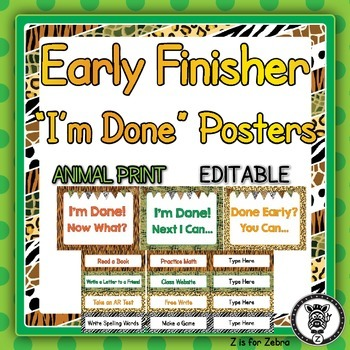 Early Finisher / I'm Done Posters - Editable
