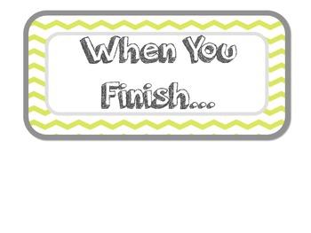 Early Finisher Task Ideas [FREEBIE]