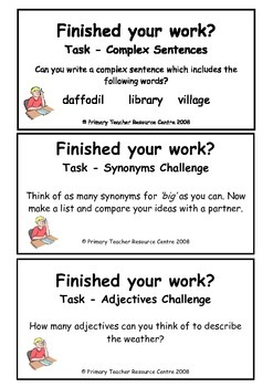 Early Finishers Activity Cards