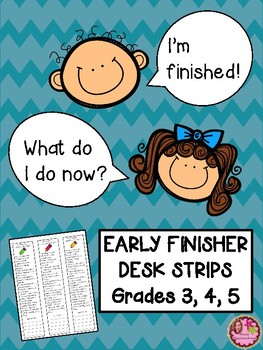 Back to School Early Finishers Desk Strips - 3rd, 4th, 5th Grade