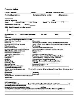 Early Intervention Therapy Note Form