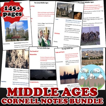 Middle Ages Cornell Notes *Bundle* (World History) Early t