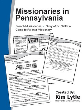 Early Missionaries in PA - French Missionaries, Story of F