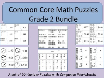 Early Number Puzzles Bundle Grade 2 Common Core Standards