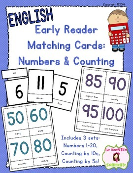 Early Reader Matching Cards: Numbers and Counting (English)