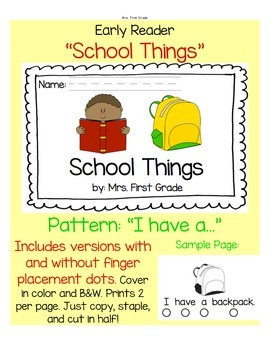 """Early Reader """"School Things"""" - Differentiated!"""