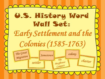 Early Settlement and the Colonies Word Wall Set (1585-1763)