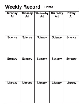 Early Years - Weekly Planner
