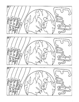Earth Bookmark PDF Printable Solar System Coloring Page