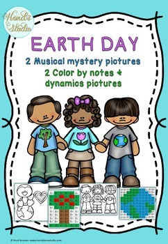 Earth Day- 2 Musical Mystery pictures and 2 color by notes