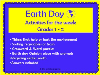 Earth Day Activities for the Week Grades 1-2