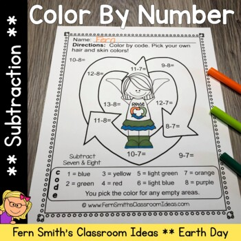 Earth Day Color By Numbers Earth Day Math Subtraction Colo