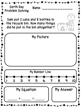 Earth Day Addition & Subtraction Word Problems (Kindergart