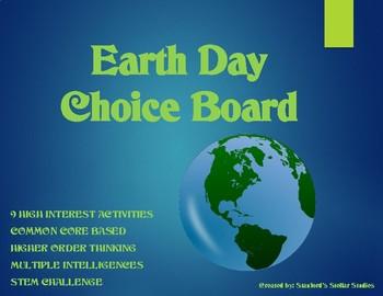 Earth Day Choice Board Tic Tac Toe Science ELA Activities