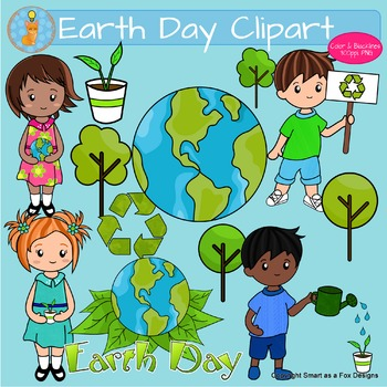 Earth Day Clipart with Plants Trees Recycling