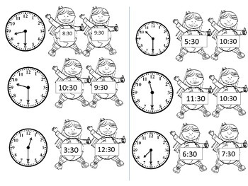 Earth Day Clocks to the hour and half hour