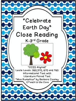 """Earth Day"" Close Reading - K-3rd Grade -Text Passages/Gra"